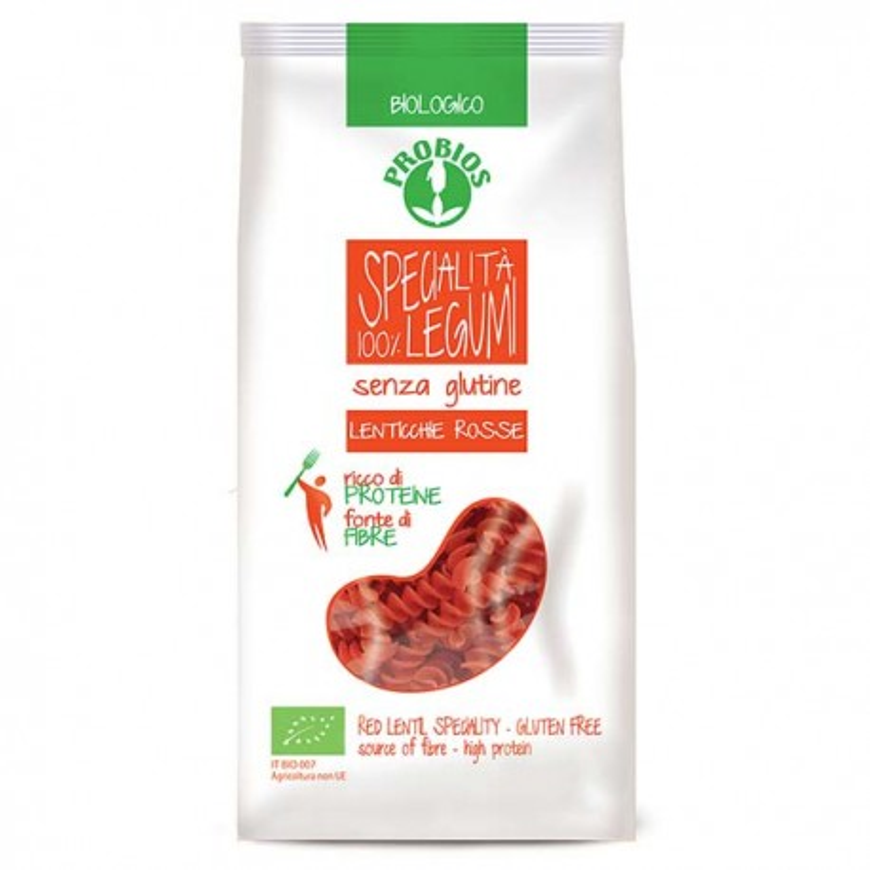 Fusilli di lenticchie rosse bio senza glutine